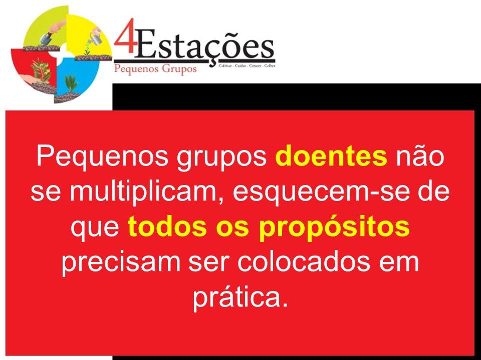 Pequenos grupos doentes não se multiplicam, esquecem-se de que todos os propósitos precisam ser colocados em prática.