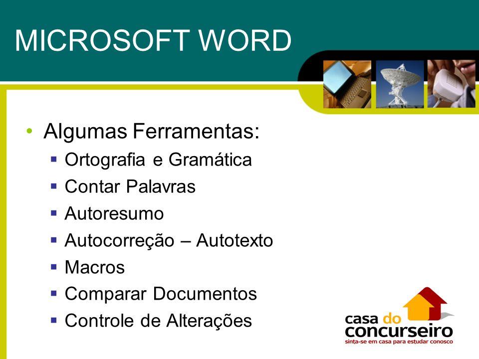 MICROSOFT WORD Algumas Ferramentas: Ortografia e Gramática Contar Palavras Autoresumo Autocorreção – Autotexto Macros Comparar Documentos Controle de