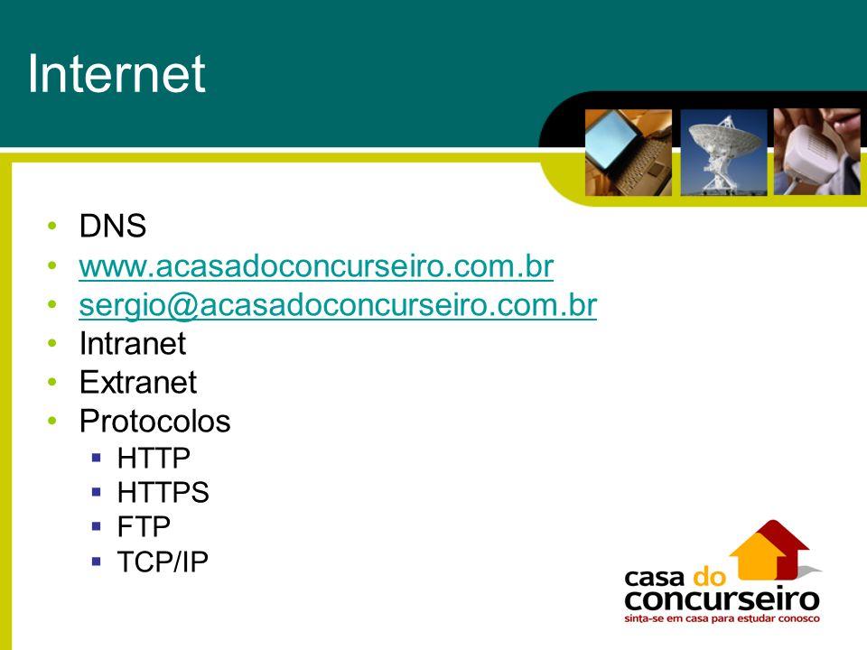 Internet DNS www.acasadoconcurseiro.com.br sergio@acasadoconcurseiro.com.brsergio@acasadoconcurseiro.com.br Intranet Extranet Protocolos HTTP HTTPS FT
