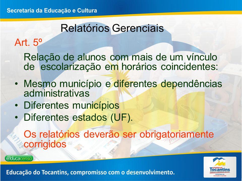 Relatórios Gerenciais Art. 5º Relação de alunos com mais de um vínculo de escolarização em horários coincidentes: Mesmo município e diferentes dependê