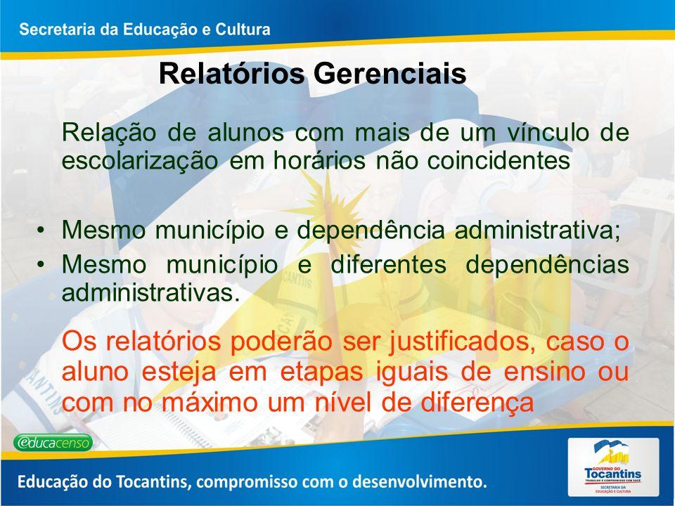 Relatórios Gerenciais Relação de alunos com mais de um vínculo de escolarização em horários não coincidentes Mesmo município e dependência administrat