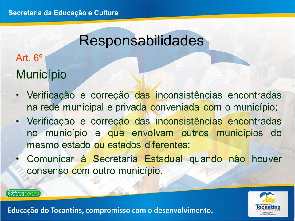 Responsabilidades Art. 6º Município Verificação e correção das inconsistências encontradas na rede municipal e privada conveniada com o município; Ver