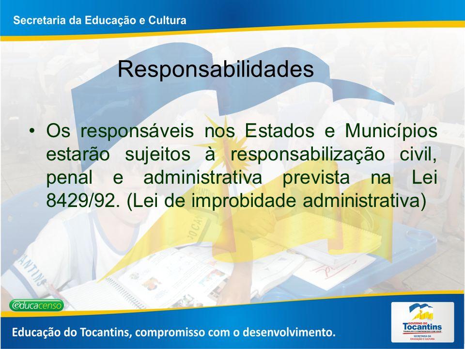 Responsabilidades Os responsáveis nos Estados e Municípios estarão sujeitos à responsabilização civil, penal e administrativa prevista na Lei 8429/92.