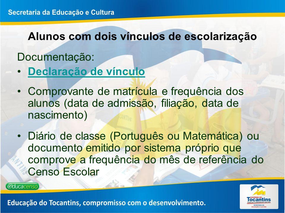 Alunos com dois vínculos de escolarização Documentação: Declaração de vínculo Comprovante de matrícula e frequência dos alunos (data de admissão, fili