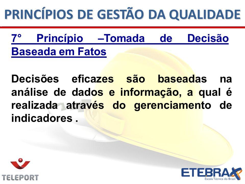 7° Princípio –Tomada de Decisão Baseada em Fatos Decisões eficazes são baseadas na análise de dados e informação, a qual é realizada através do gerenc