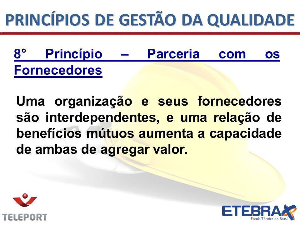 8° Princípio – Parceria com os Fornecedores Uma organização e seus fornecedores são interdependentes, e uma relação de benefícios mútuos aumenta a cap