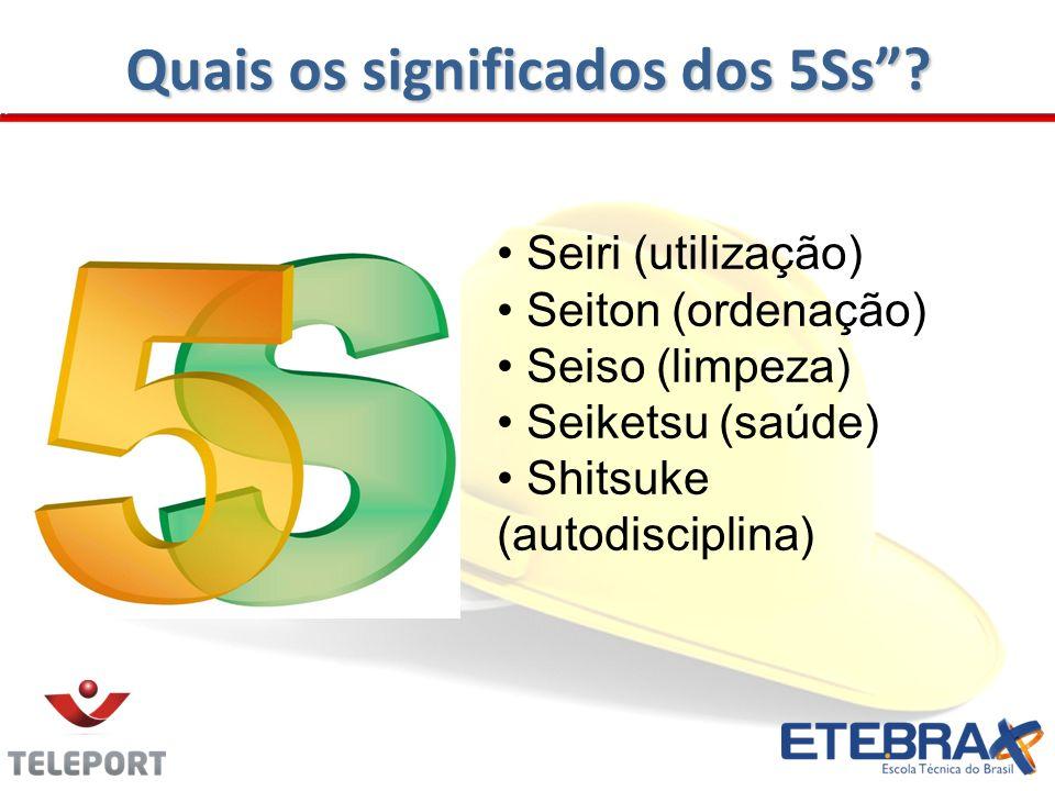 Quais os significados dos 5Ss? Seiri (utilização) Seiton (ordenação) Seiso (limpeza) Seiketsu (saúde) Shitsuke (autodisciplina)