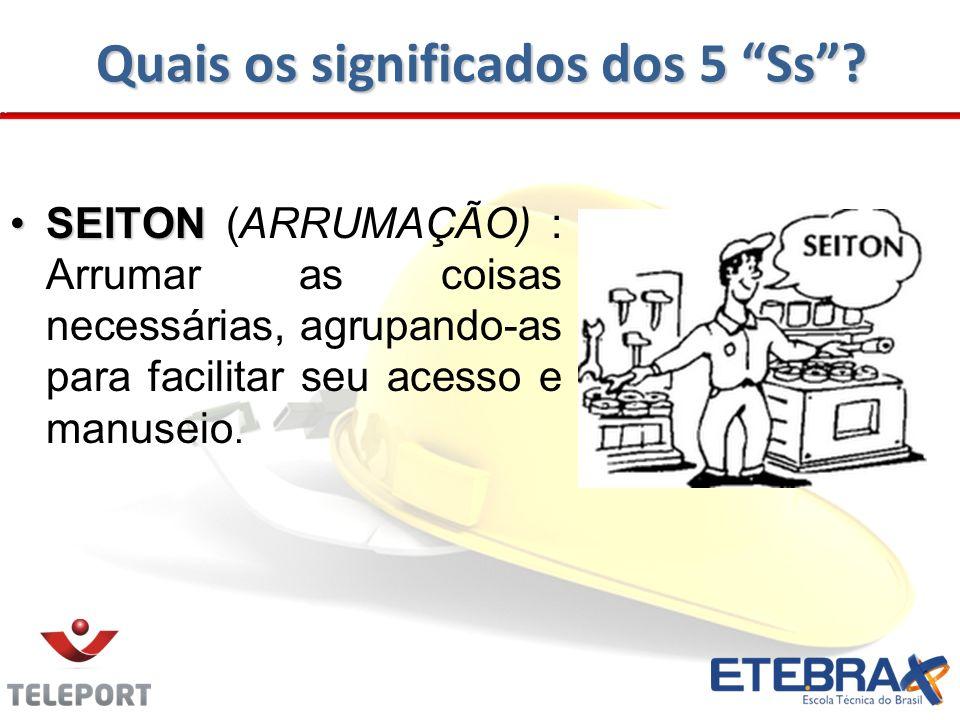 Quais os significados dos 5 Ss? SEITONSEITON (ARRUMAÇÃO) : Arrumar as coisas necessárias, agrupando-as para facilitar seu acesso e manuseio.