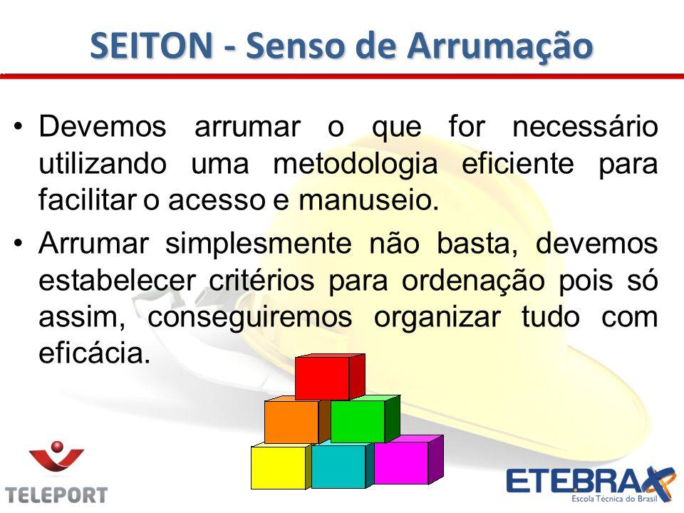 SEITON - Senso de Arrumação Devemos arrumar o que for necessário utilizando uma metodologia eficiente para facilitar o acesso e manuseio. Arrumar simp