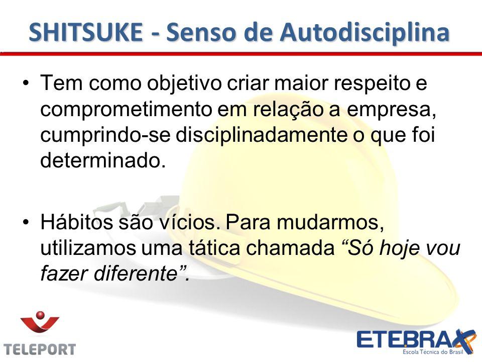 SHITSUKE - Senso de Autodisciplina Tem como objetivo criar maior respeito e comprometimento em relação a empresa, cumprindo-se disciplinadamente o que