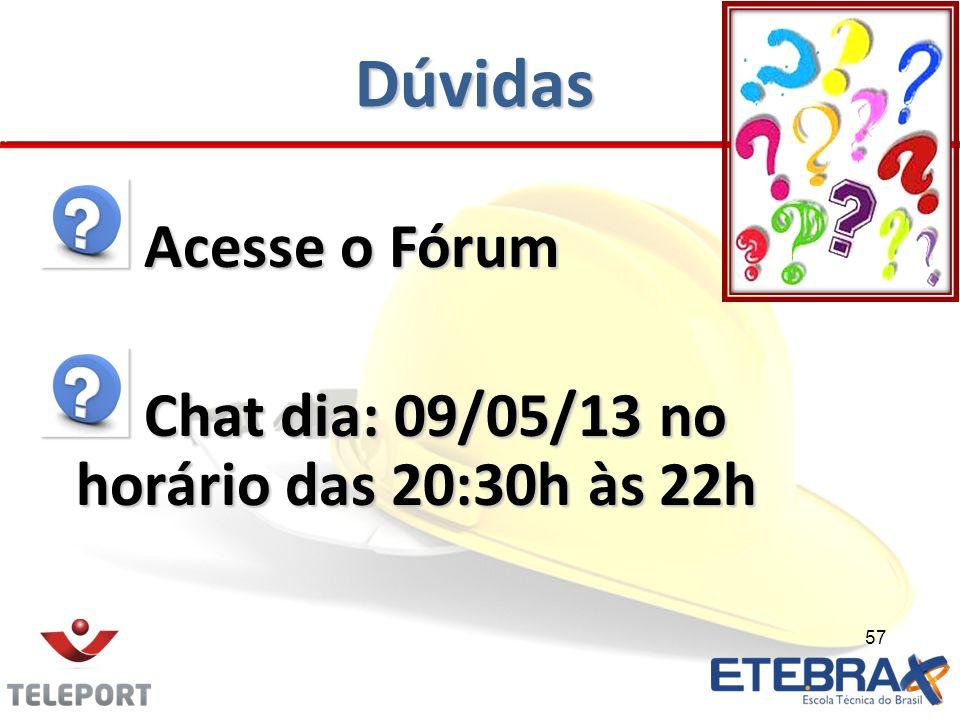 Dúvidas Acesse o Fórum Acesse o Fórum Chat dia: 09/05/13 no horário das 20:30h às 22h Chat dia: 09/05/13 no horário das 20:30h às 22h 57