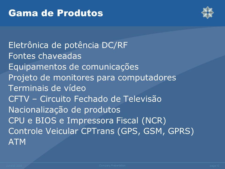 page 10 June 03, 2005 Company Presentation Gama de Produtos Eletrônica de potência DC/RF Fontes chaveadas Equipamentos de comunicações Projeto de moni