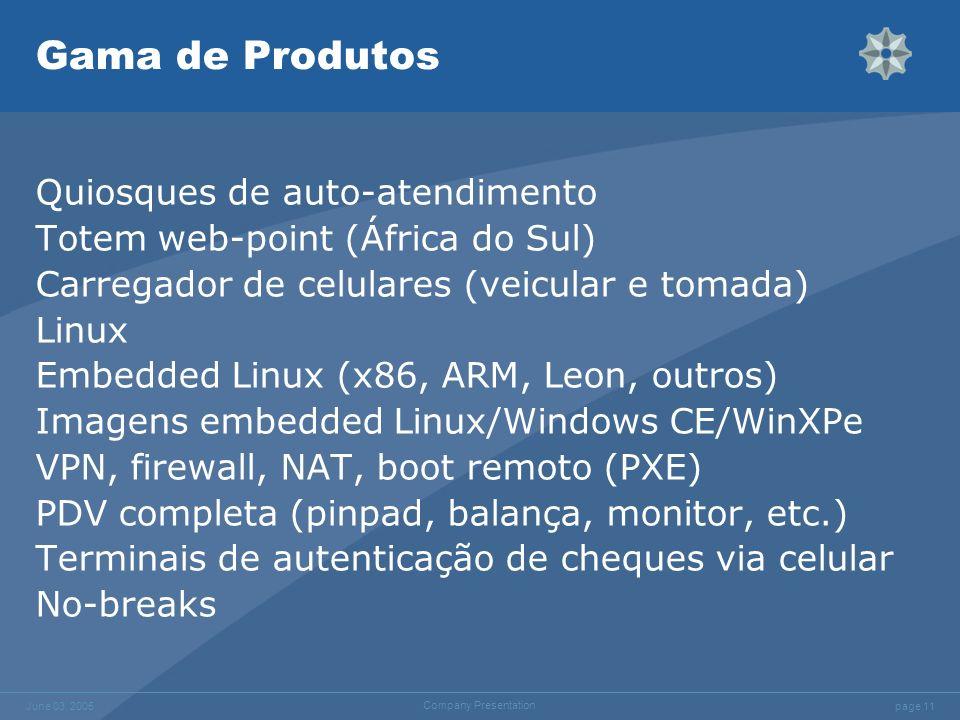 page 11 June 03, 2005 Company Presentation Gama de Produtos Quiosques de auto-atendimento Totem web-point (África do Sul) Carregador de celulares (vei