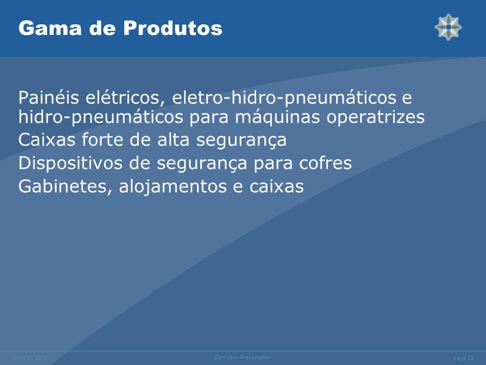 page 12 June 03, 2005 Company Presentation Gama de Produtos Painéis elétricos, eletro-hidro-pneumáticos e hidro-pneumáticos para máquinas operatrizes