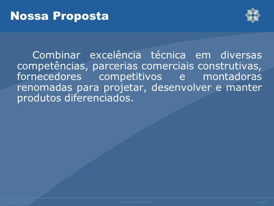 page 3 June 03, 2005 Company Presentation Nossa Proposta Combinar excelência técnica em diversas competências, parcerias comerciais construtivas, forn