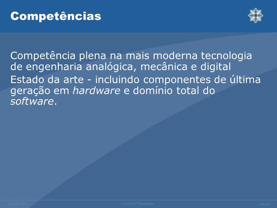 page 9 June 03, 2005 Company Presentation Competências Competência plena na mais moderna tecnologia de engenharia analógica, mecânica e digital Estado