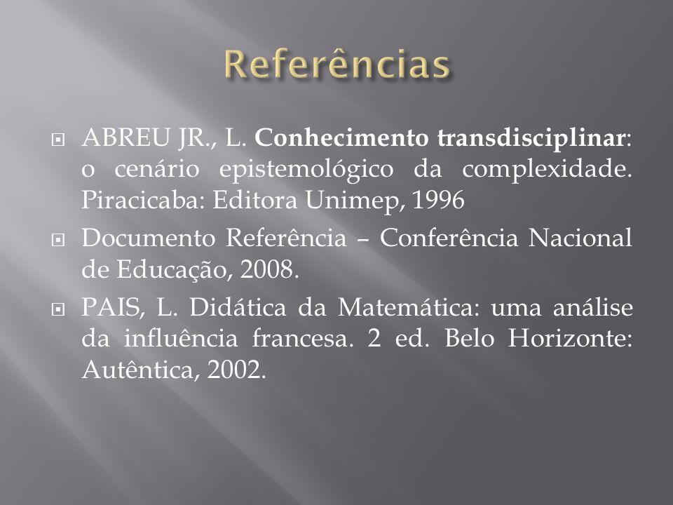 ABREU JR., L. Conhecimento transdisciplinar : o cenário epistemológico da complexidade. Piracicaba: Editora Unimep, 1996 Documento Referência – Confer