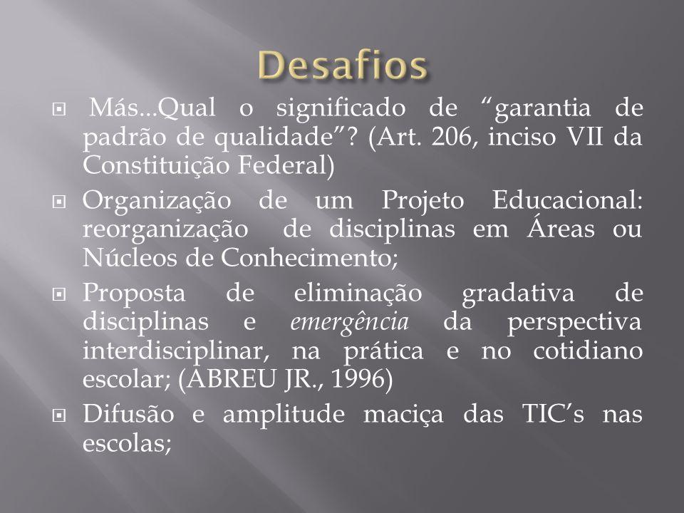 Más...Qual o significado de garantia de padrão de qualidade? (Art. 206, inciso VII da Constituição Federal) Organização de um Projeto Educacional: reo