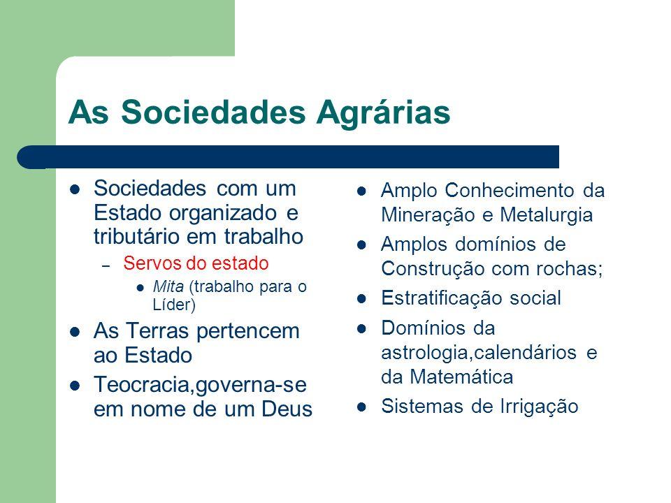 As Sociedades Agrárias Sociedades com um Estado organizado e tributário em trabalho – Servos do estado Mita (trabalho para o Líder) As Terras pertence