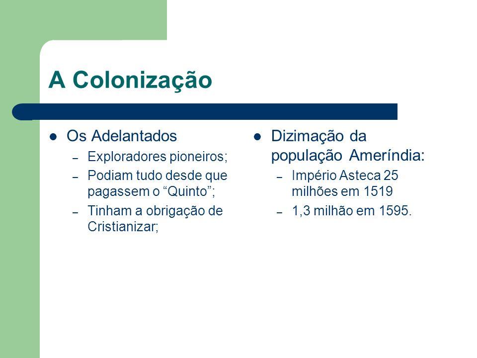 A Colonização Os Adelantados – Exploradores pioneiros; – Podiam tudo desde que pagassem o Quinto; – Tinham a obrigação de Cristianizar; Dizimação da p