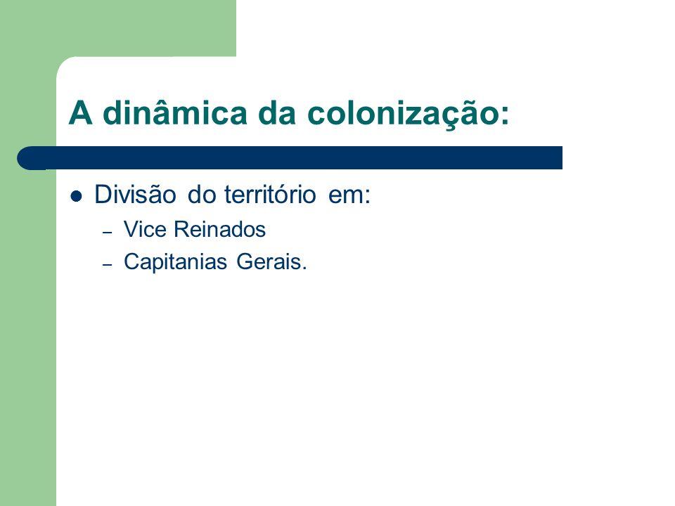 A dinâmica da colonização: Divisão do território em: – Vice Reinados – Capitanias Gerais.