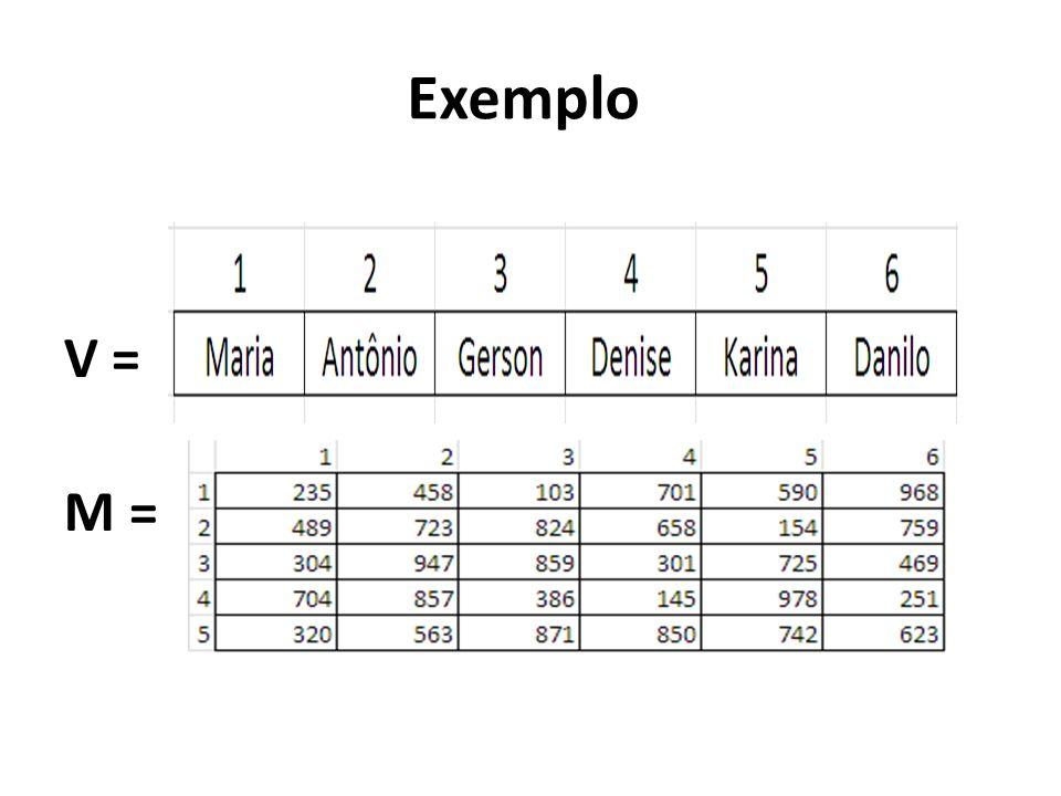 Como indica um elemento dentro de uma Matriz? M[4,3] = Linha 4 e Coluna 3 M=