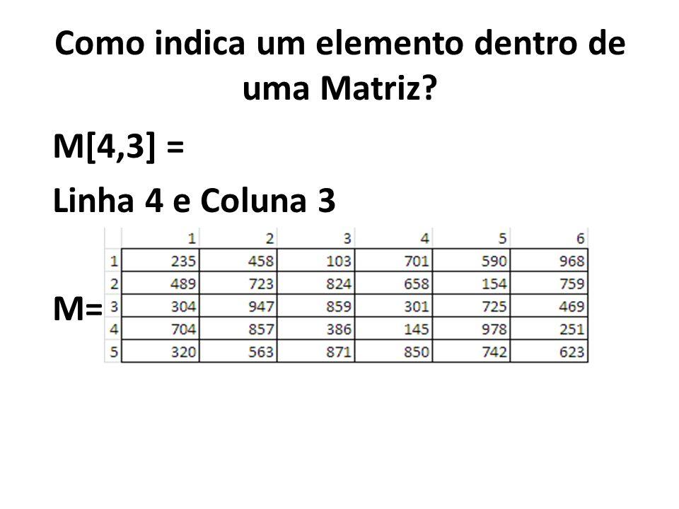Declaração : MATRIZ [, ] DE nome: que será atribuído a matriz dimensão1: indica a quantidade de índices com relação as linhas da matriz dimensão2: indica a quantidade de índices com relação as colunas da matriz tipo de dado: determina qual será o tipo dos dados dessa matriz