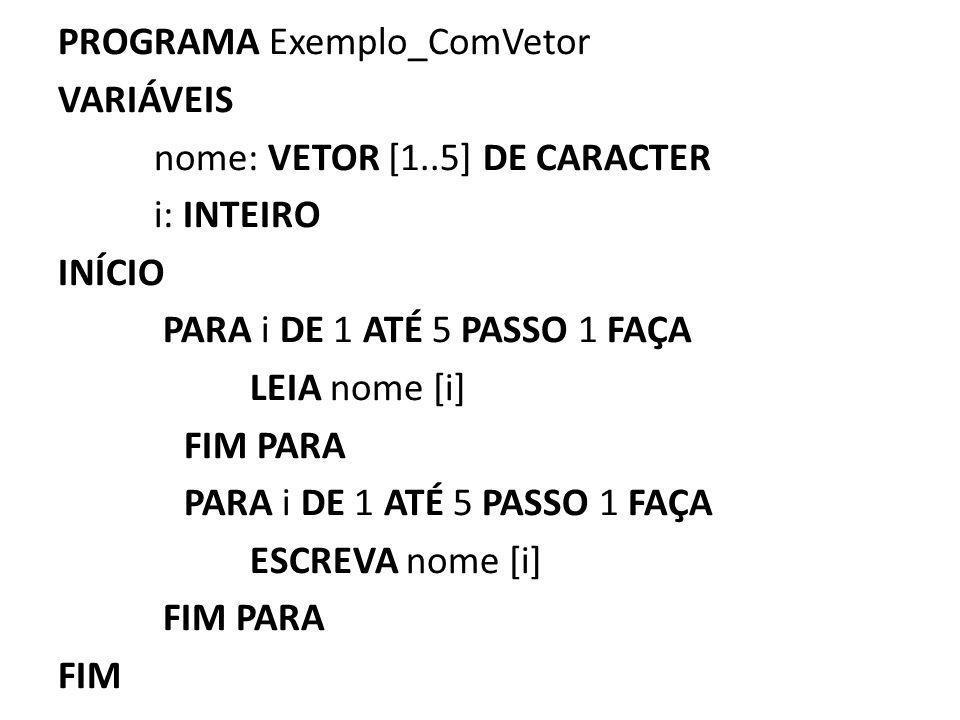 PROGRAMA Exemplo_ComVetor VARIÁVEIS nome: VETOR [1..5] DE CARACTER i: INTEIRO INÍCIO PARA i DE 1 ATÉ 5 PASSO 1 FAÇA LEIA nome [i] FIM PARA PARA i DE 1