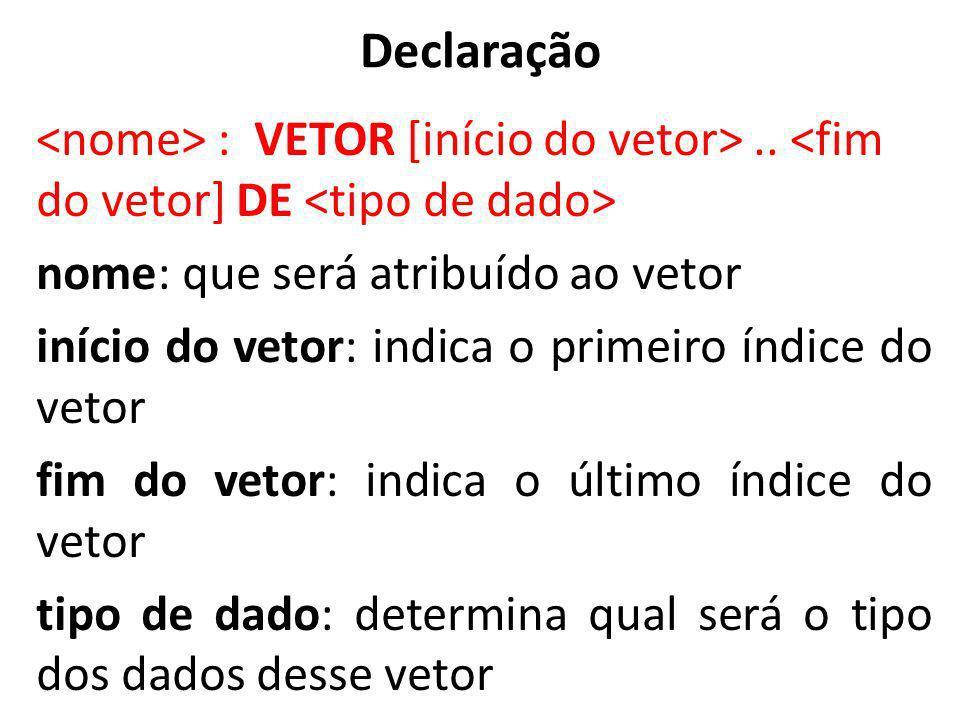 Declaração : VETOR [início do vetor>.. nome: que será atribuído ao vetor início do vetor: indica o primeiro índice do vetor fim do vetor: indica o últ