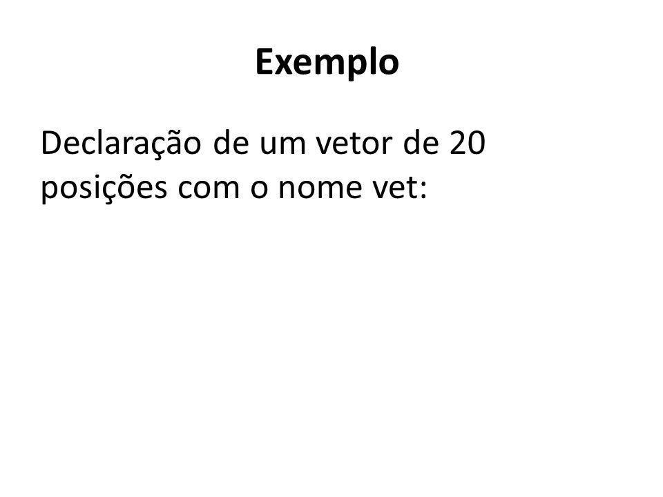 Exemplo Declaração de um vetor de 20 posições com o nome vet: