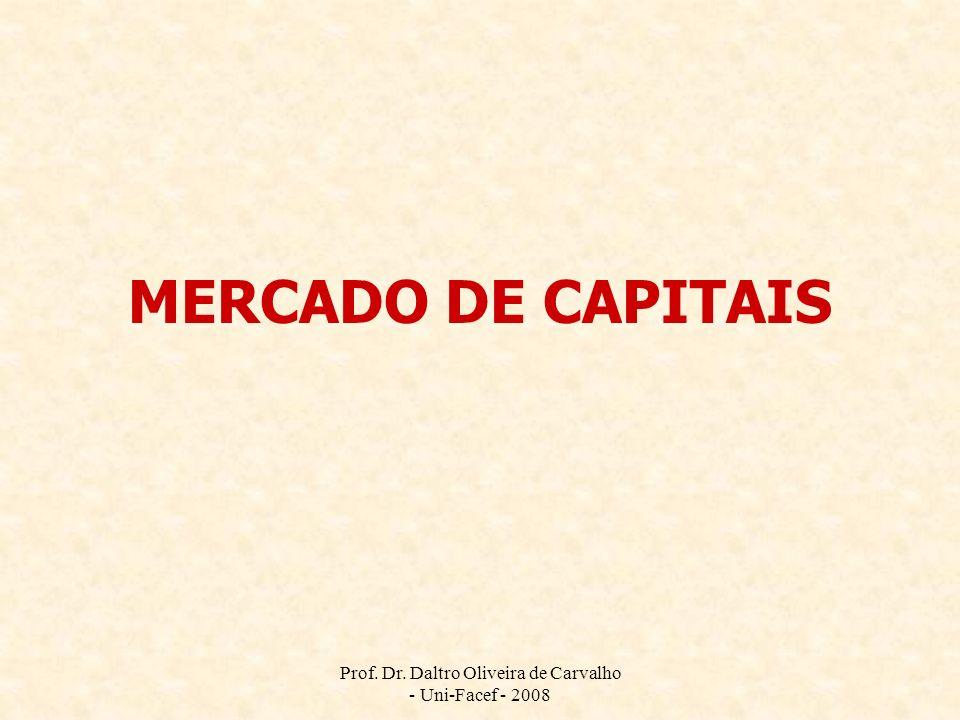 Prof. Dr. Daltro Oliveira de Carvalho - Uni-Facef - 2008 MERCADO DE CAPITAIS