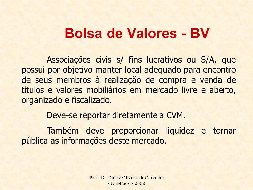 Prof. Dr. Daltro Oliveira de Carvalho - Uni-Facef - 2008 Bolsa de Valores - BV Associações civis s/ fins lucrativos ou S/A, que possui por objetivo ma