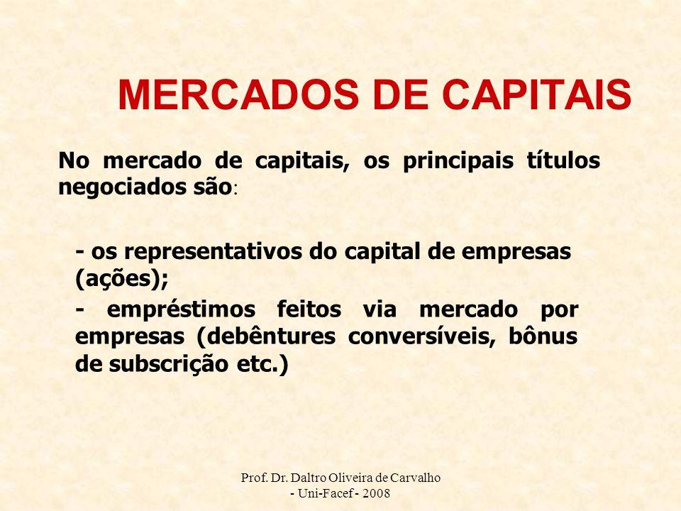 Prof. Dr. Daltro Oliveira de Carvalho - Uni-Facef - 2008 MERCADOS DE CAPITAIS No mercado de capitais, os principais títulos negociados são : - os repr