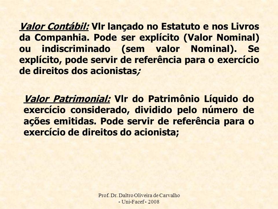 Prof. Dr. Daltro Oliveira de Carvalho - Uni-Facef - 2008 Valor Contábil: Vlr lançado no Estatuto e nos Livros da Companhia. Pode ser explícito (Valor