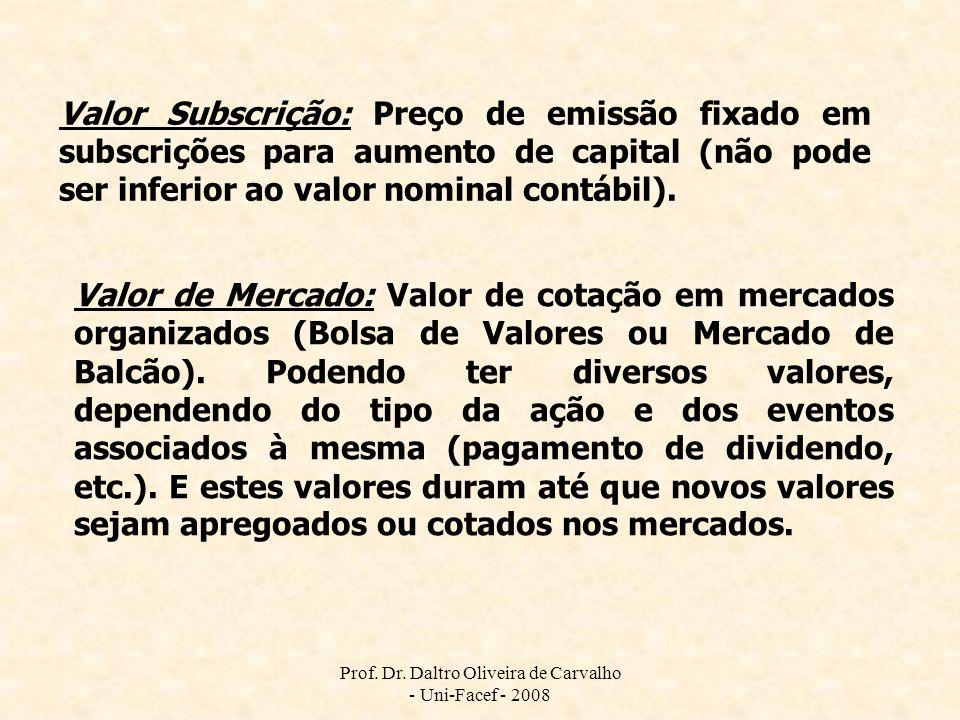 Prof. Dr. Daltro Oliveira de Carvalho - Uni-Facef - 2008 Valor Subscrição: Preço de emissão fixado em subscrições para aumento de capital (não pode se