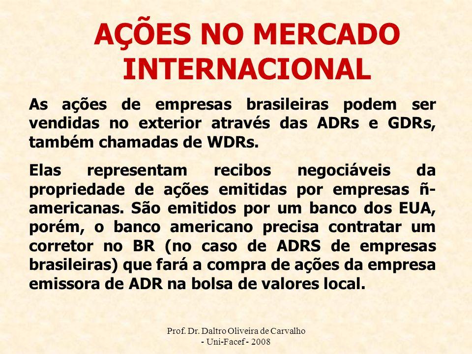 Prof. Dr. Daltro Oliveira de Carvalho - Uni-Facef - 2008 AÇÕES NO MERCADO INTERNACIONAL As ações de empresas brasileiras podem ser vendidas no exterio
