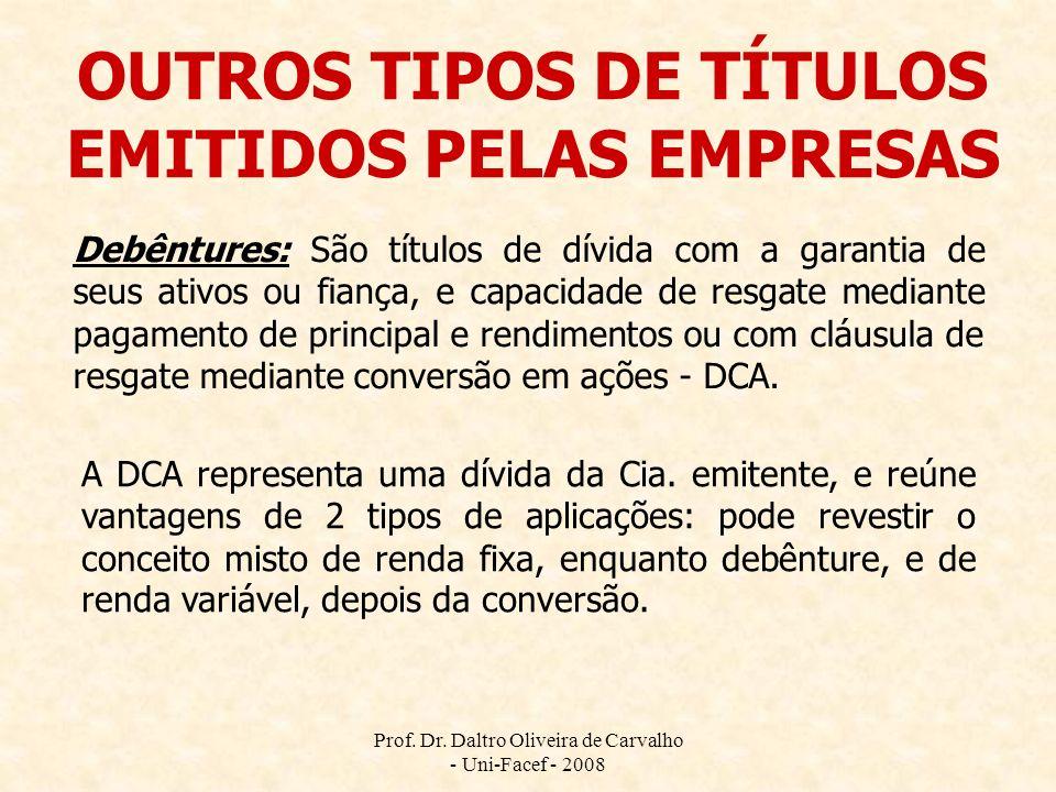 Prof. Dr. Daltro Oliveira de Carvalho - Uni-Facef - 2008 OUTROS TIPOS DE TÍTULOS EMITIDOS PELAS EMPRESAS Debêntures: São títulos de dívida com a garan