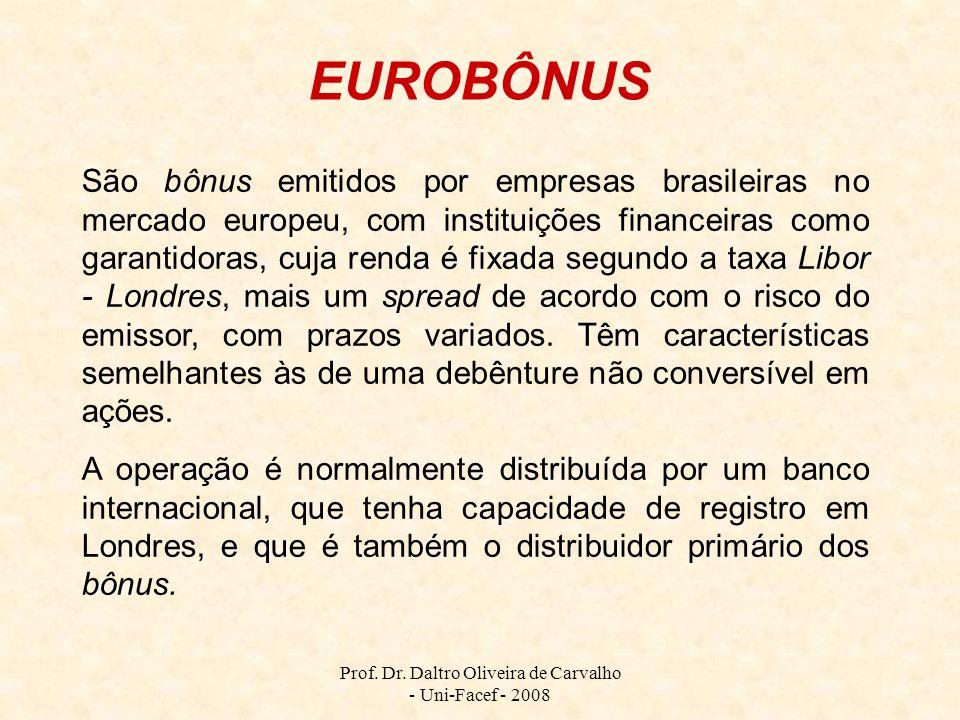 Prof. Dr. Daltro Oliveira de Carvalho - Uni-Facef - 2008 São bônus emitidos por empresas brasileiras no mercado europeu, com instituições financeiras