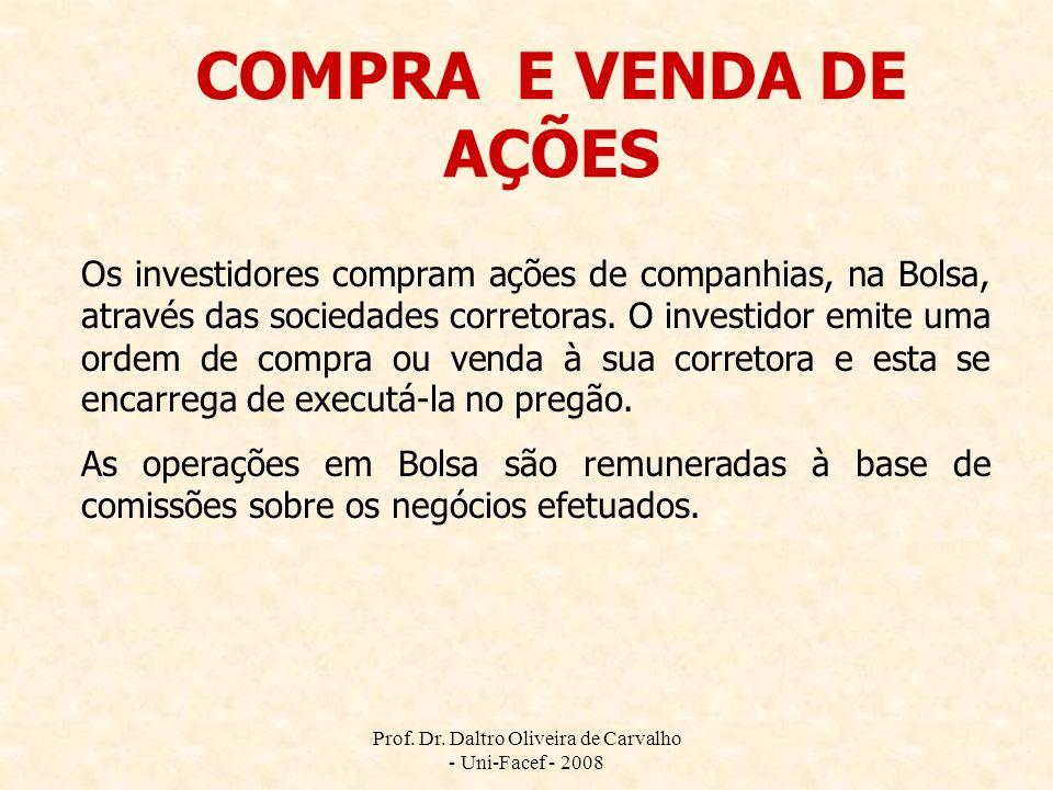 Prof. Dr. Daltro Oliveira de Carvalho - Uni-Facef - 2008 COMPRA E VENDA DE AÇÕES Os investidores compram ações de companhias, na Bolsa, através das so