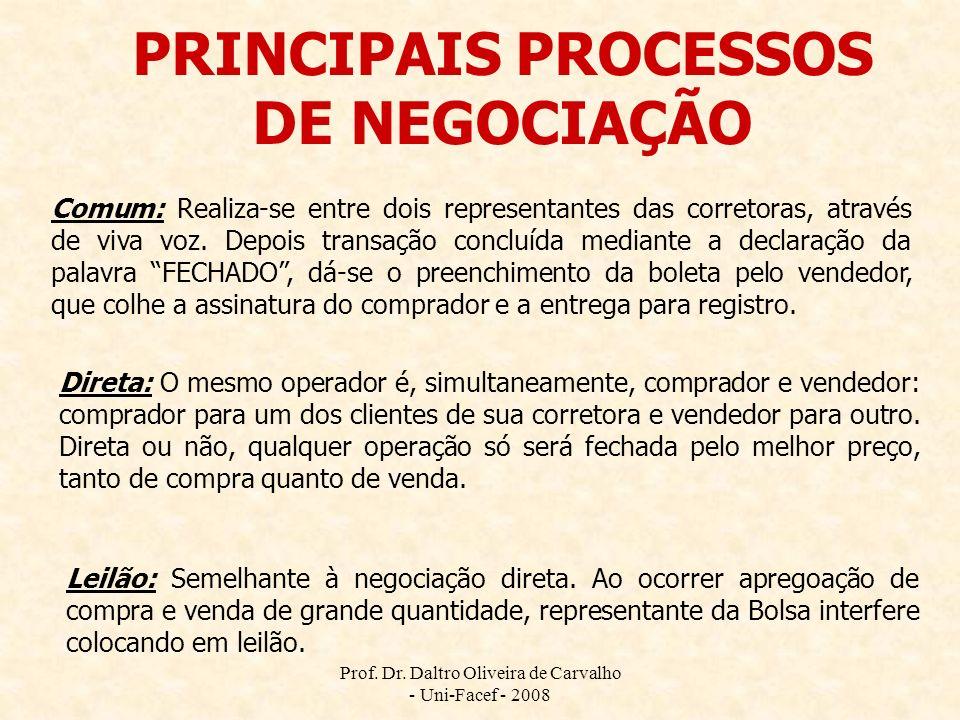 PRINCIPAIS PROCESSOS DE NEGOCIAÇÃO Comum: Realiza-se entre dois representantes das corretoras, através de viva voz. Depois transação concluída mediant