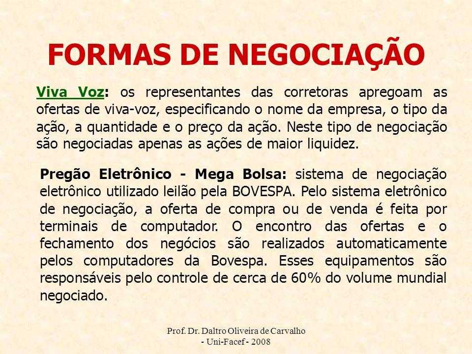 Prof. Dr. Daltro Oliveira de Carvalho - Uni-Facef - 2008 FORMAS DE NEGOCIAÇÃO Viva VozViva Voz: os representantes das corretoras apregoam as ofertas d