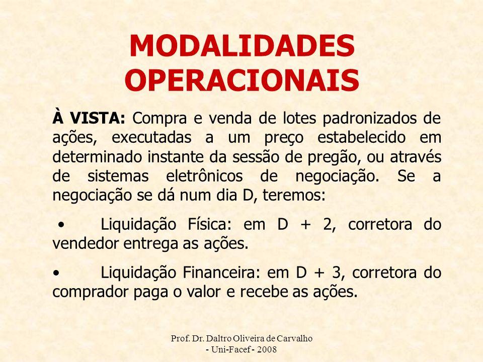 Prof. Dr. Daltro Oliveira de Carvalho - Uni-Facef - 2008 MODALIDADES OPERACIONAIS À VISTA: Compra e venda de lotes padronizados de ações, executadas a