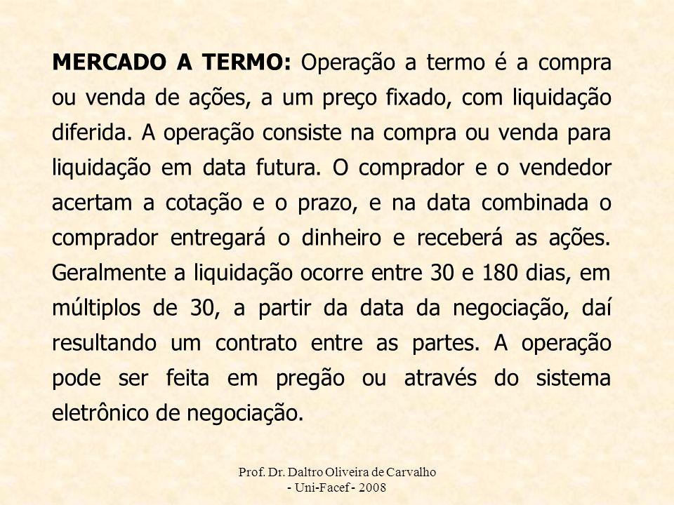 Prof. Dr. Daltro Oliveira de Carvalho - Uni-Facef - 2008 MERCADO A TERMO: Operação a termo é a compra ou venda de ações, a um preço fixado, com liquid