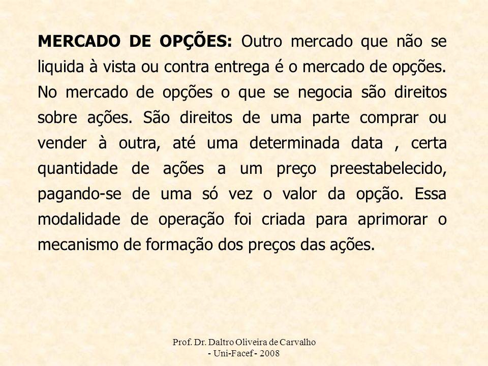 Prof. Dr. Daltro Oliveira de Carvalho - Uni-Facef - 2008 MERCADO DE OPÇÕES: Outro mercado que não se liquida à vista ou contra entrega é o mercado de
