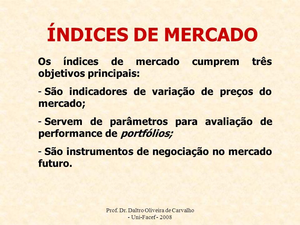 Prof. Dr. Daltro Oliveira de Carvalho - Uni-Facef - 2008 ÍNDICES DE MERCADO Os índices de mercado cumprem três objetivos principais: - São indicadores