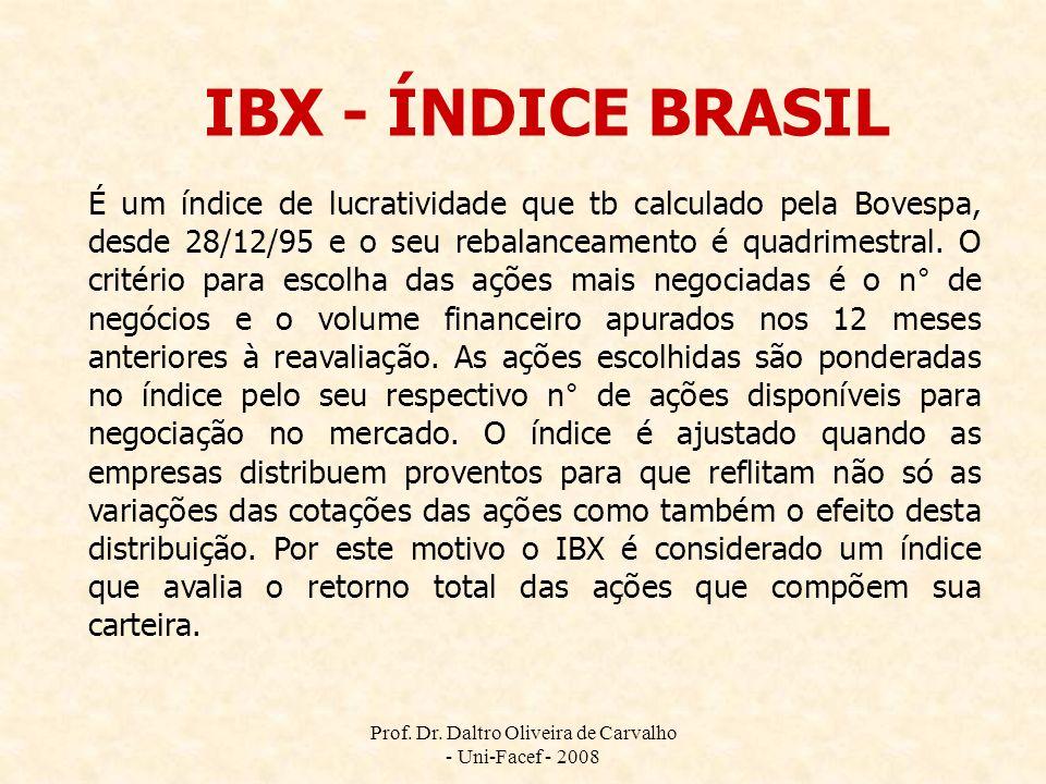 Prof. Dr. Daltro Oliveira de Carvalho - Uni-Facef - 2008 IBX - ÍNDICE BRASIL É um índice de lucratividade que tb calculado pela Bovespa, desde 28/12/9