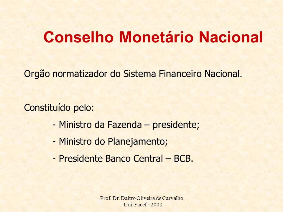 Conselho Monetário Nacional Orgão normatizador do Sistema Financeiro Nacional. Constituído pelo: - Ministro da Fazenda – presidente; - Ministro do Pla