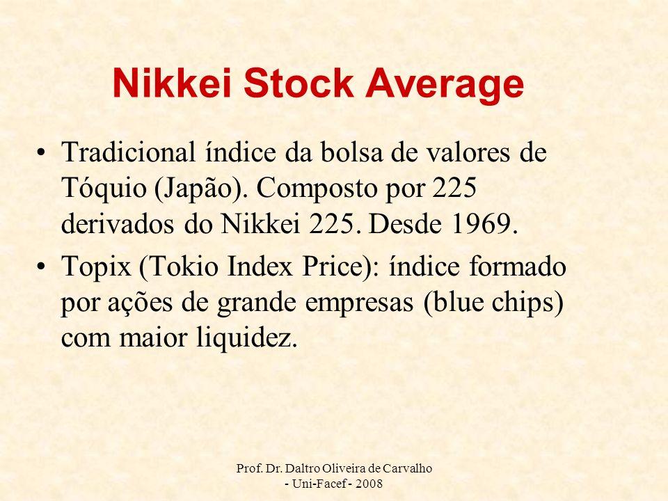 Prof. Dr. Daltro Oliveira de Carvalho - Uni-Facef - 2008 Nikkei Stock Average Tradicional índice da bolsa de valores de Tóquio (Japão). Composto por 2