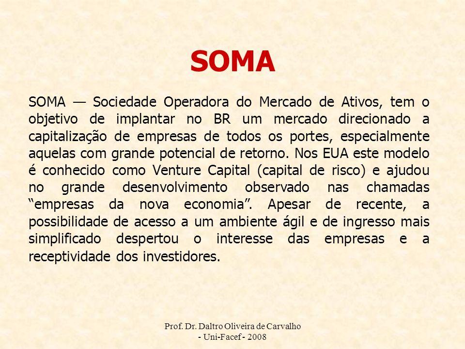 Prof. Dr. Daltro Oliveira de Carvalho - Uni-Facef - 2008 SOMA SOMA Sociedade Operadora do Mercado de Ativos, tem o objetivo de implantar no BR um merc
