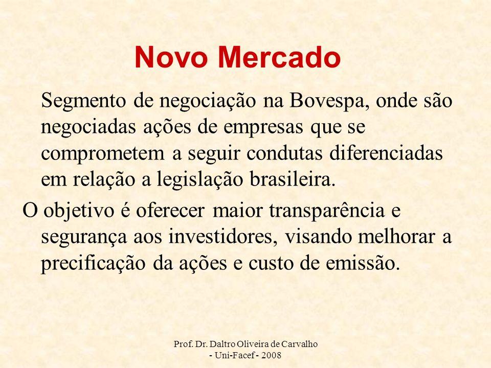 Prof. Dr. Daltro Oliveira de Carvalho - Uni-Facef - 2008 Novo Mercado Segmento de negociação na Bovespa, onde são negociadas ações de empresas que se